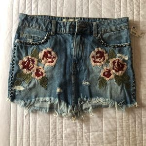 Free People Jean Skirt - Stud and Flower Detail
